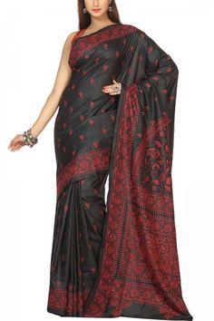 Rich Black & Red Thread Kantha Soft Silk Saree