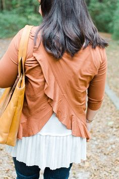 Ethical Fashion Blogger - Fall Style - Elegantees Ruffle Split Back Top, Chiffon Lace Extender, Sseko Fringe Leather Tote, The Root Collective Espe Booties (4) - Ethical Fall Fashion Outfit Ideas | The Most Fall Outfit In the History of Fall Outfits by North Carolina ethical fashion blogger Still Being Molly