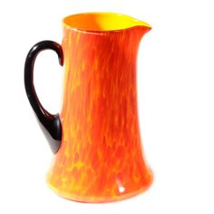 Czech Art Deco 30's Ruckl Welz orange spatter flame lava cased art glass pitcher #ArtDeco
