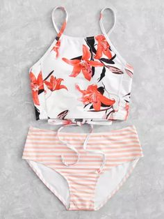 SheIn offers Flower Print High Neck Bikini Set more to fit your fashionable needs. Bathing Suits For Teens, Summer Bathing Suits, Cute Bathing Suits, Summer Swimwear, Summer Suits, Casual Summer, Suits Outfits, Fresh Outfits, Beach Outfits