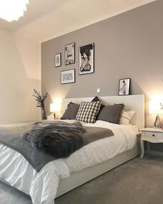 The best thing on Monday is when everything is done and you finally go to bed f - Einrichten und Wohnen - Schlafzimmer Room Ideas Bedroom, Bedroom Colors, Home Decor Bedroom, Grey Bedroom Design, White Bedroom Decor, Grey Wall Bedroom, Charcoal Bedroom, Light Gray Bedroom, Dream Rooms