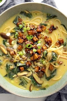 60 minutes · Vegetarian · Serves 4 · Coconut Curry Ramen with a creamy golden broth, pan-fried vegetables, cubes of golden brown tofu, and steamy delicious ramen noodles. Bonus: it's vegan! Veggie Recipes, Asian Recipes, Whole Food Recipes, Vegetarian Recipes, Cooking Recipes, Healthy Recipes, Ramen Recipes, Vegetarian Soup, Japanese Recipes