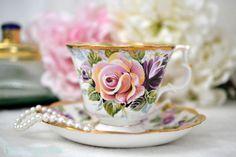 "Royal Albert Summer Bounty Series ""AMETHYST"", English Bone China Tea Cup Set, Replacement China, Wedding Gift, Tea Party, ca.1988"