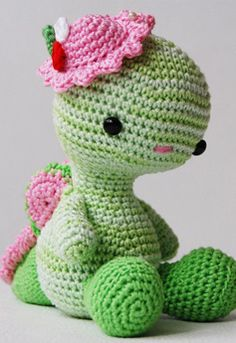 Amigurumi! Dragon.  She's cuter when you see her profile etc. pattern available for purchase.