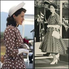 """Polka Dot Queen: Actress Claire Foy as Queen Elizabeth (left) in """"The Crown"""", and the real Queen Elizabeth II (right) during her Commonwealth Tour 1952 Kenya."""