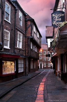 "The Shambles, York, North Yorkshire. ""The oldest street in York is mentioned in the Doomsday Book of 1086 and In the late 19th century was known for its number of butchers. The meat would hang in the shadows of the overhanging buildings away from the sun."
