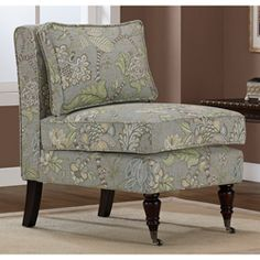 Subtle yet beautiful Jacobean floral Armless chair