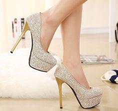 Women'S Sequins Platform Stilettos High Heels Shoes Round Toe Clubwear Pumps