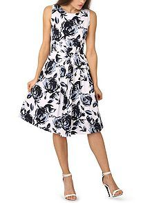 Monochrome Pleated Occasion Floral Dress