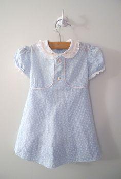 "Handmade Blue, Pink and White ""Button Flower"" Dress Vintage Baby Clothes, Vintage Dresses, Vintage Outfits, 1940s Outfits, Pink Outfits, Little Girl Dresses, Girls Dresses, Kids Clothes Patterns, Cute Outfits For Kids"