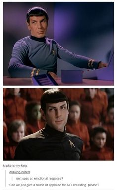 Zachary Quinto did a great job reacting as Lenard Nimoy's Spock but also made it his own.