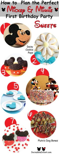 Fun ideas for sweets for a Mickey Mouse Birthday Party
