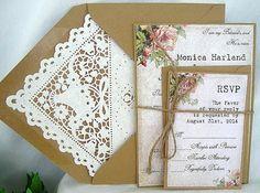 Vintage Rose Rustic Wedding Invitation w Kraft Doily Lace Envelope Beautiful Shabby Chic, 5 Piece Sample -  Custom Any Color on Etsy, $5.00