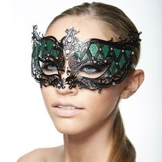 Black Laser Cut Mask with Hand Painted Glitter -Made with eco-friendly metal material. -Laser Cut -Beautiful Rhinestones design.  -One size fits most. -Perfect for masquerade balls, weddings, proms, parties, dances, music festivals, raves, Mardi Gras, etc. K2003 Jewelry