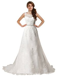 GEORGE BRIDE Elegant Off Shoulder Beaded ALine Wedding Dress Size 8 White -- Read more  at the image link. (This is an Amazon affiliate link and I receive a commission for the sales and I receive a commission for the sales)