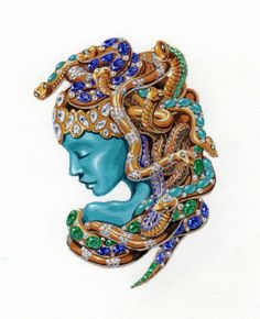 Medusa brooch/  guache and warter color by WOOAKIM