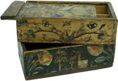 Paint-decorated paint box with sliding lid  ephrata, pa, 19th century ...~♥~