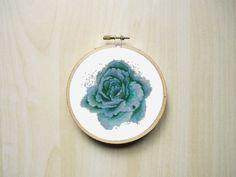 Blue Watercolour Rose Flower Modern by RhiannonsCrossStitch