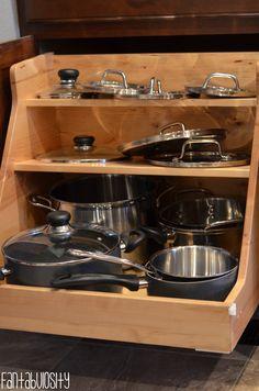 Pots & Pans Organizer,  Kitchen Home Design Ideas Home Tour Part 4 http://fantabulosity.com