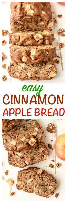 World's BEST Apple Bread - Super moist, packed with apple cinnamon goodness, and made with applesauce, so it's healthy too!! So fast and easy, you don't even need a mixer, and kids love it too! www.wellplated.com @wellplated
