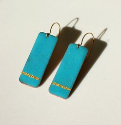 Wedding Jewelry for DIY or Unusual Bride - Teal / Turquoise and Gold Earrings - Something Blue!
