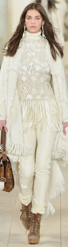 "Ralph Lauren Fall Winter 2015-16 RTW - I get it that she is demonstrating sort of a  ""yin/yang"" vibe, but the boots destroy a beautiful outfit, and it is a beautiful outfit."