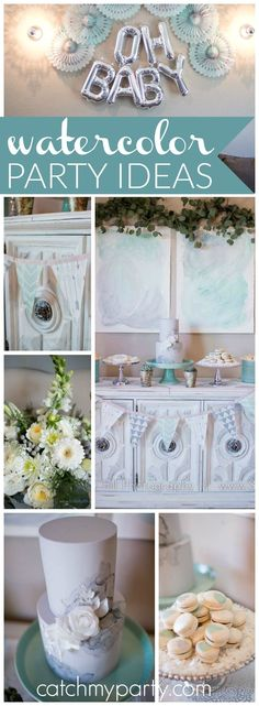 How pretty is this watercolor baby shower with a palette of sea glass green and gray! See more party ideas at CatchMyParty.com!