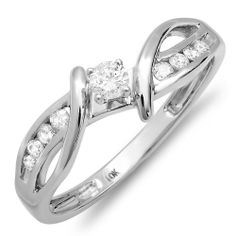 0.25 Carat (ctw) 10k White Gold Round Diamond Crossover Split Shank Ladies Bridal Promise Engagement Ring 1/4 CT DazzlingRock Collection. $249.00. Weight approximately 2.00 grams. It is a small ring Crafted in 10K white gold. 0.25 Ct. Round cut diamonds in prong setting. Diamond Color / Clarity : H-I / I1-I2. Items is smaller than what appears in photo. Photo enlarged to show detail
