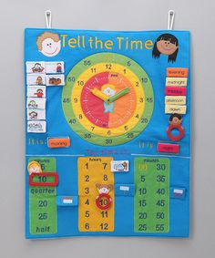 Take a look at this Blue 'Tell The Time' Wall Hanging by Rosalina on today! Kids Oven, Telling Time, Home Schooling, Felt Toys, Teaching Tools, Clock, Kids Rugs, Invitations, Wall