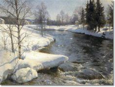 Peder Mørk Mønsted (1859-1941): Snowy Winter Landscape, 1936