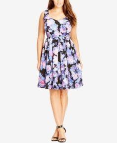 City Chic Plus Size Floral-Print Sweetheart Dress - Black 20W