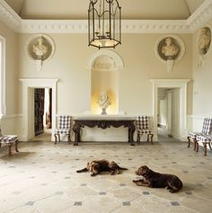 Bellamont Forest- a country house with gingham and chocolate labradors