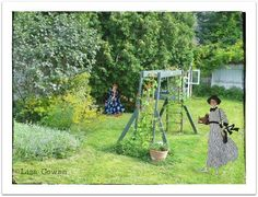 Time travel in the garden with the Kodak Girl and The Horrockses Girl. Photo and collage by Liza Cowan