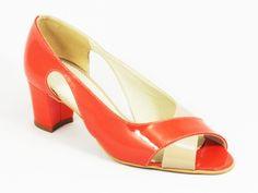 Sandale dama piele portocalii lac toc 5,5 cm Elena