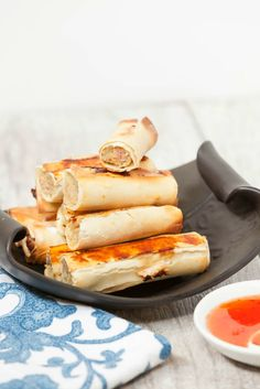Baked Lumpia, Filipino Eggroll with ground pork and chicken - Low Calorie, Low Fat Healthy Appetizer