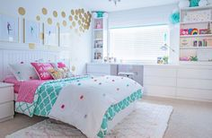 A budget-friendly teen/tween girl& bedroom makeover in turquoise and white and featuring a clean, contemporary look with IKEA furniture. Blue Teen Girl Bedroom, Teenage Girl Bedroom Decor, Bedroom For Girls Kids, Girl Bedroom Designs, Home Decor Bedroom, Bedroom Rustic, Girl Bedroom Paint, Girls Bedroom Colors, Teenage Bedrooms