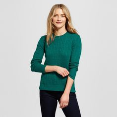Women's Pullover Sweaters - Merona Green Reflection S