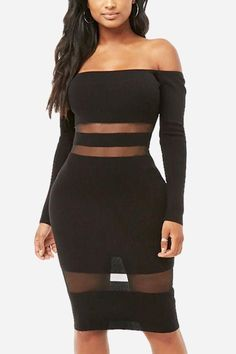 d1a81ccdf69 Women Black Off Shoulder Sexy Bodycon Party Sheer Dress - XL