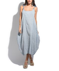 Blue & White Stripe Linen Sleeveless Dress - Plus Too