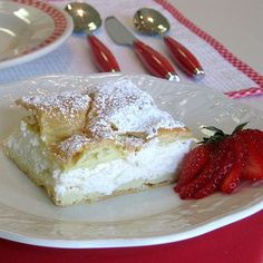 This Polish Carpathian Mountain cream cake recipe is known as karpatka. It's a peasant version of the more refined kremówka, which is made with puff pastry.