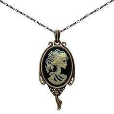 """Skull Skeleton Necklace Heart Angel Jewelry Fairy Charm Fashion Antique Brass Pendant 2 Chain Pouch Gift. Lovely angel heart cameo necklace, Pendant(2 * 0.9""""), Chain(2pc : 18"""", 24""""). Lucky Pendant, The Success is often reached through the little stuff """"Buy it now"""" Tomorrow never comes! Create a definite plan for carrying out your desire and begin at once, whether you are ready or not, to put this plan into action. (Napoleon Hill). Antique brass color, No more worry about metal tannish…"""