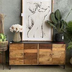 Iron Top Buffet — Loft Furniture New Zealand Loft Furniture, Reclaimed Timber, Recycled Wood, Wood Paneling, Timeless Fashion, New Zealand, Buffet, New Homes, Iron