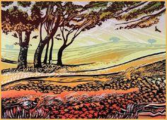 Rob Barnes, Norfolk artist - Fields of Amber - linocut