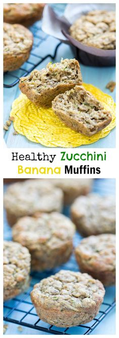 Healthy Zucchini Banana Muffins made with greek yogurt, oatmeal, coconut oil and whole wheat flour! These healthy muffins make a great breakfast or afternoon snack, plus they are low in fat and calories!