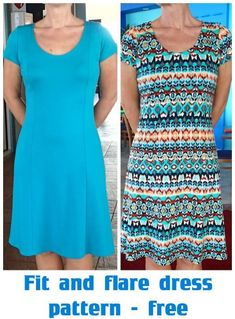 Pull-on-and-go easy to wear fit and flare dress pattern. Free fit and flare dress pattern in sizes inch bust along with video tutorial for how to sew Sewing Patterns Free, Free Sewing, Clothing Patterns, Dress Patterns, Free Pattern, Easy Dress Pattern, Free Dress Sewing Pattern, Easy Sewing Projects, Sewing Tutorials