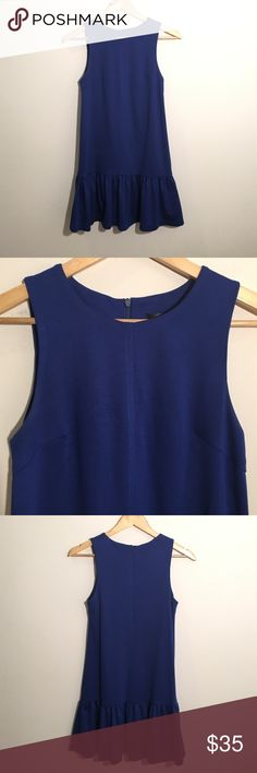 Aqua by Bloomingdales Blue Ruffle Shift Dress Super flirty and classic sleeveless dress by Aqua. Lux thick material. Zipper back. Darted bodice. There are some deodorant markings by underarm and on bottom front of dress - can likely be cleaned / dry cleaned out. Aqua Dresses Mini