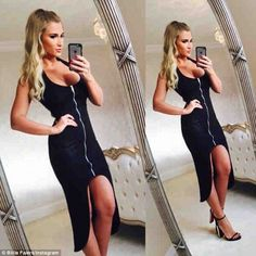 Festive frock: TOWIE beauty Billie Faiers upped the glamour on Boxing Day, donning a low-c...