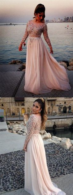 Long Sleeves Sexy See-Through Cheap Party Cocktail Evening Long Prom Dresses Online, 6665734 #promdresses
