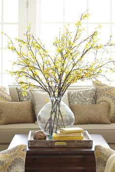 Organic & a simple way to add texture to any room in your home. I use natural branches from my yard. A budding forsythia is an early sign that winter is over, but you can make it feel like spring anytime with Pier 1s brightly blooming Artificial Forsythia Branch.