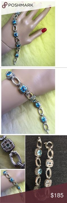 """Gabrielle Bruni Topaz Sterling 14k Caviar Bracelet Vintage Gabrielle Bruni Topaz Sterling Silver 14k Caviar Style Bracelet -  Beautiful high end caviar style sterling silver and 14k yellow gold bracelet with 6 large dazzling genuine topaz gemstone - Bracelet is about 7-1/2"""" long - Very well taken care of maybe needing a cleaning to shine chain - Hallmarked 925 14k and Gabrielle Bruni Hallmark - Matching Necklace sold separately - Gabrielle Bruni has been designing high end jewelry since the…"""